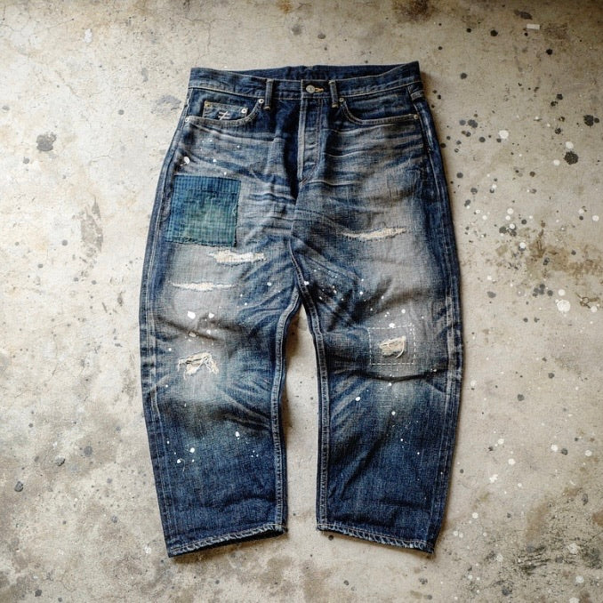 1.HANGEReering WASHED DENIM BORO (DMGD/DRIPS)