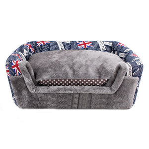 Pawstrip Flag Pattern Small Dog House Winter Warm Cat Bed Foldable Puppy Dog Bed For Chihuahua S/M/L
