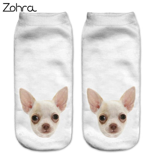 Zohra Fashion Funny Dogs 3D Printing Sock Women Low Cut Ankle Socks Calcetines Hosiery Animal Shapes Meias Sock