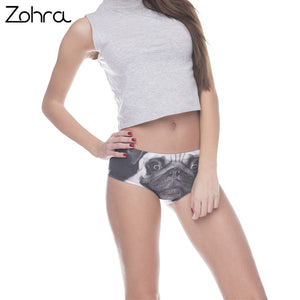 Zohra Women Underwear Lingerie Pug Dog Black White 3D Printed Sexy Panties Briefs Panty Interior Mujer Female Intimates