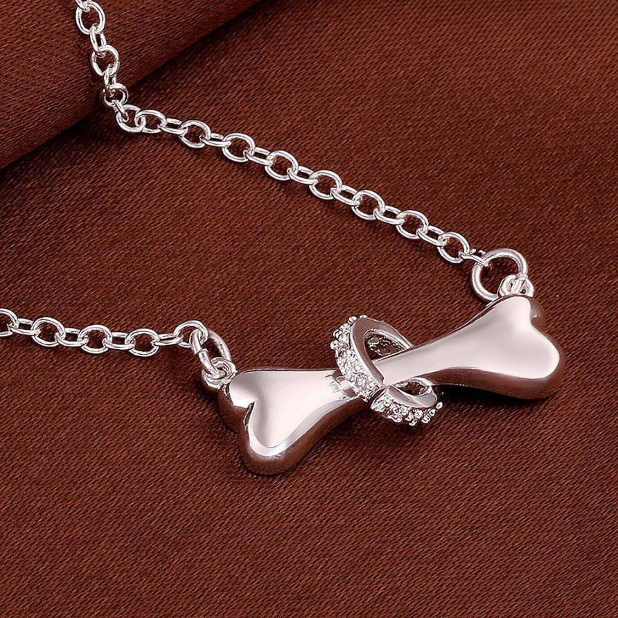 Hot Pet Dog Creative Bone Ring Pendant Silver Dogs Necklace Jewelry