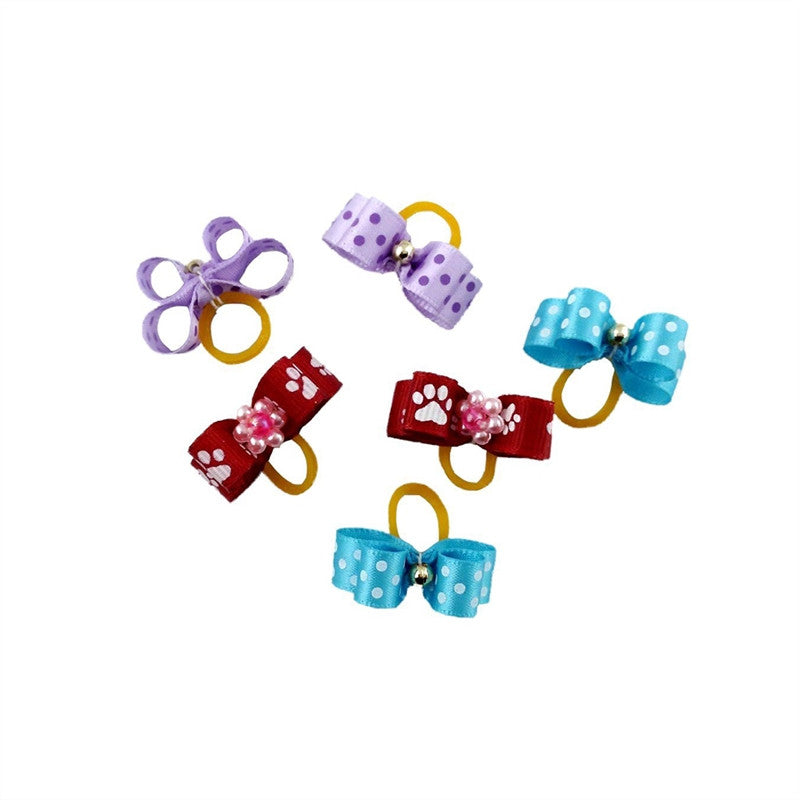 20pcs Dual-layer Pet Dog Hair Bows Accessories With Rubber Bands