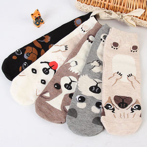 New Arrival 1 Pair Fashion Women Girls Winter Warm Cartoon Socks Dog Animal Printed Soft Cotton Casual Ankle Cute Socks