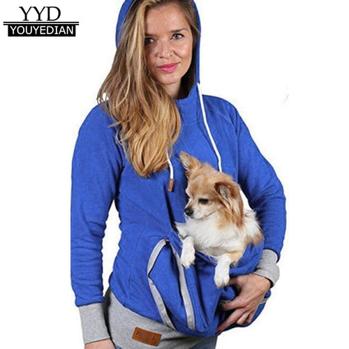 New Arrival Sweatshirts Women 2018 Kangaroo Pet Dog Cat Holder Pouch Pocket Cotton Hoody Hoodies Top Sweat Femme *1208