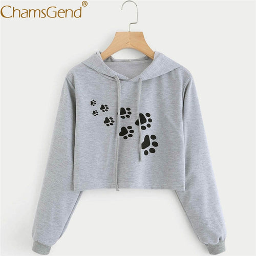 Chamsgend Hoodies Sweatshirts Women Casual Cat Dog Paw Print Crop Top Blusas Moletom Gray Hoodie Sweatshirt 71212