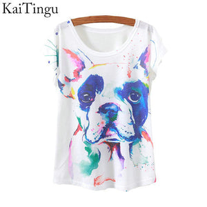 KaiTingu 2015 New Fashion Vintage Spring Summer T Shirt Women Tops Print T-shirt Animal Dog Printed White Woman Clothes