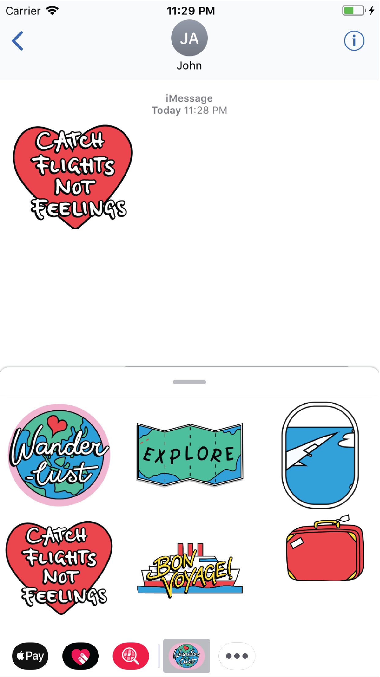 Wanderlust iMessage Stickers