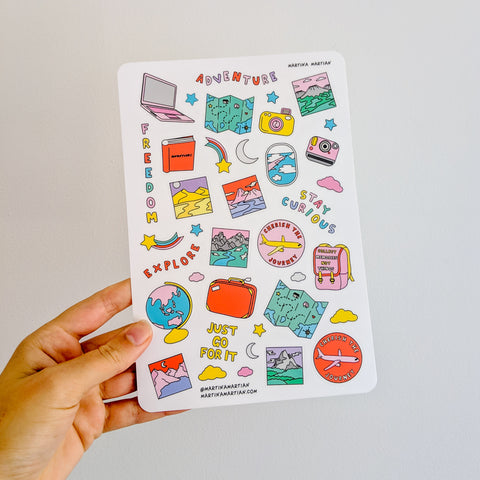 Adventure Vinyl Sticker Sheet - MartinaMartian