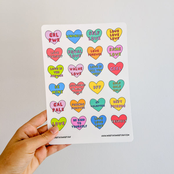 """Love"" Vinyl Sticker Sheet - MartinaMartian"