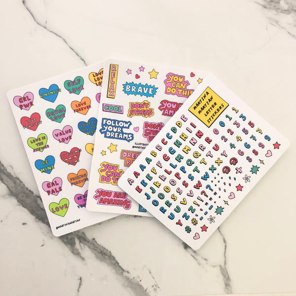Letter Vinyl Sticker Sheet - MartinaMartian