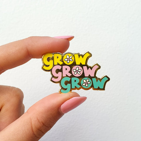 """Grow Grow Grow"" Enamel Pin Tropical"