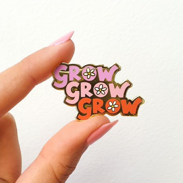 """Grow Grow Grow"" Enamel Pin Floral - MartinaMartian"