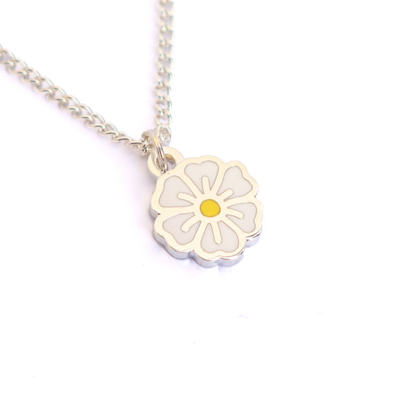 "White ""Stay Strong"" Blossom Necklace - MartinaMartian"