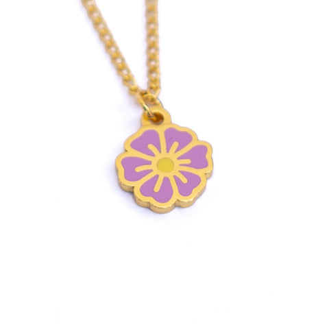 "Purple ""Just Breathe"" Blossom Necklace - MartinaMartian"