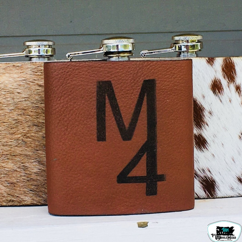 Custom Engraved Leather Wrapped Flask