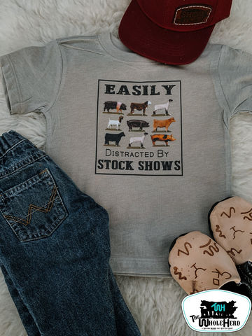 Easily Distracted by Stock Shows Kids Western Tee