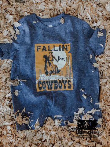 Fallin for Cowboys Kids Western Graphic Tee