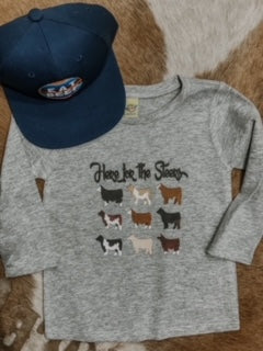 Here For The Steers Kid's Western Graphic Tee
