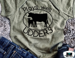 Plays Well With Udders Kids Western Tee