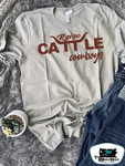 Raise Cattle & Cowboys Adult Western Tee
