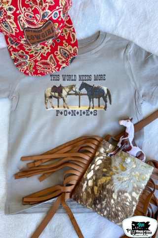 This World Needs More Ponies Kids Western Graphic Tee