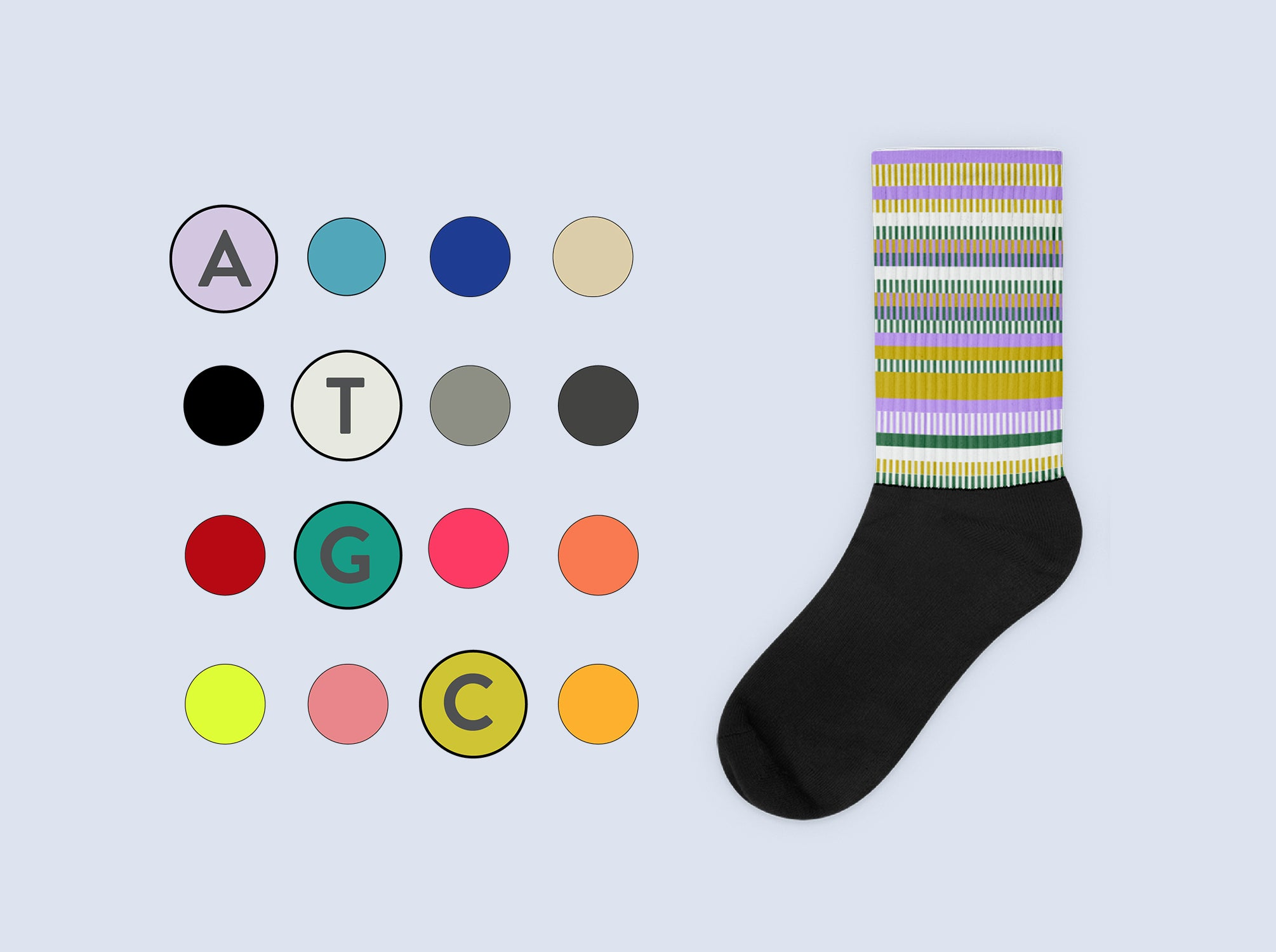 Your personalized design is created by color coding your genetic results from 33 different traits.