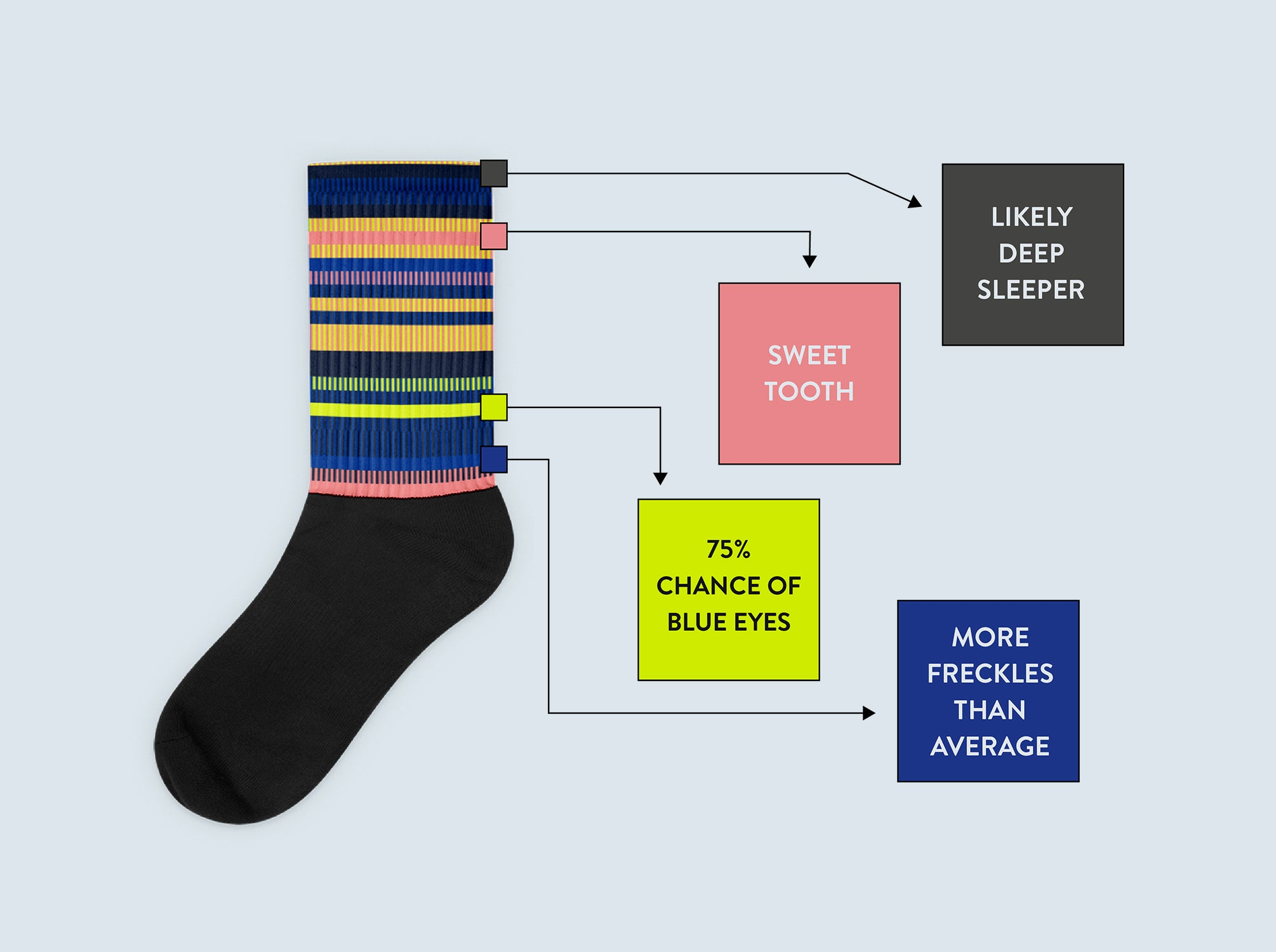 Customize your socks by selecting a color to represent each of the four DNA bases.