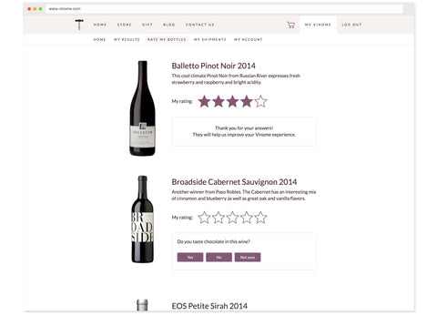 Rate and review your bottles. The more you tell us, the better we can match you to future selections.