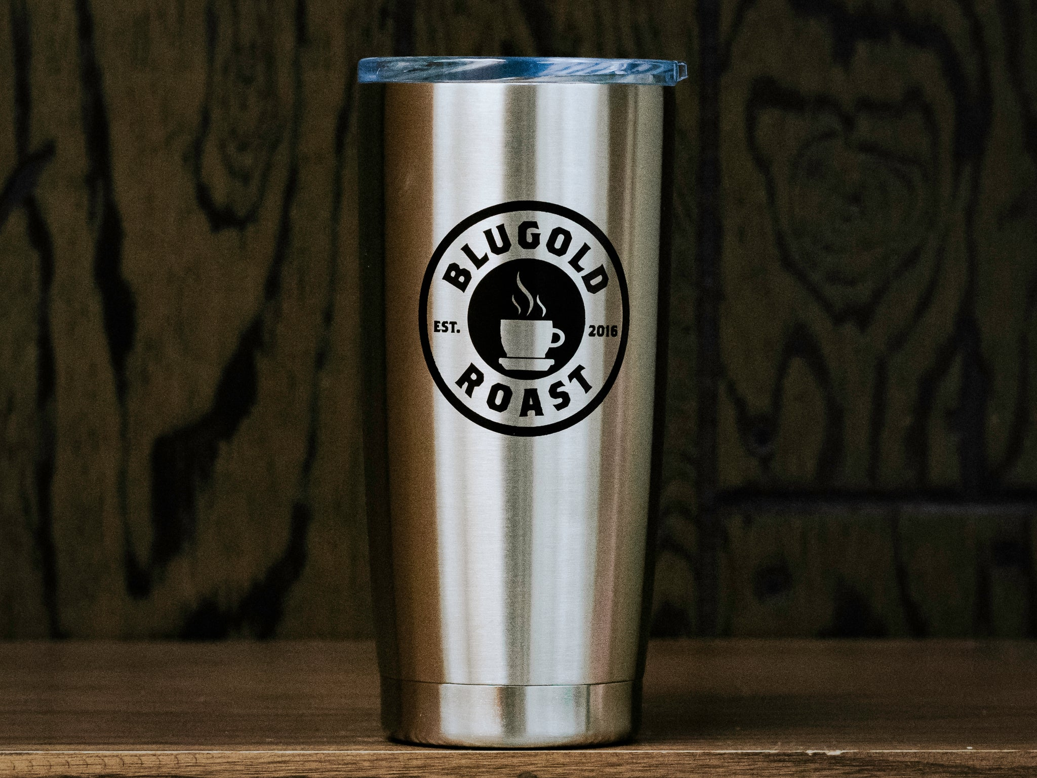 Blugold Roast Tumbler - Travel Mug, The power of [COFFEE] (front side)