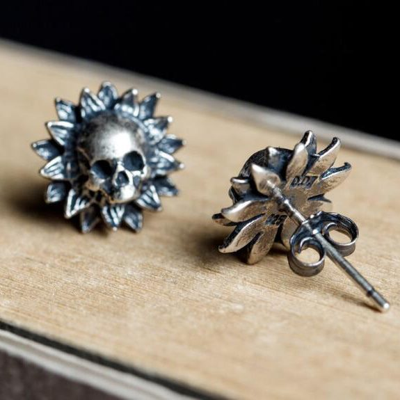 925 Sterling Silver Earrings Sunflower Skull