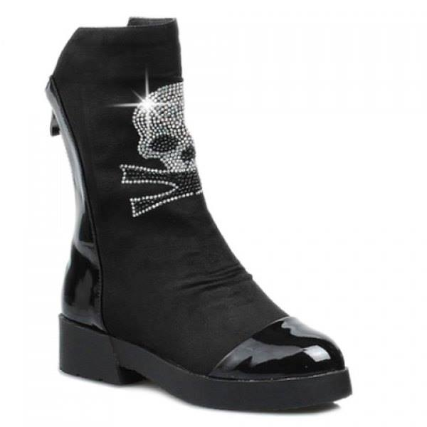 Women's Black Tribal Skull Boots