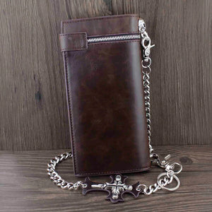 Skull Leather Wallet With Chain