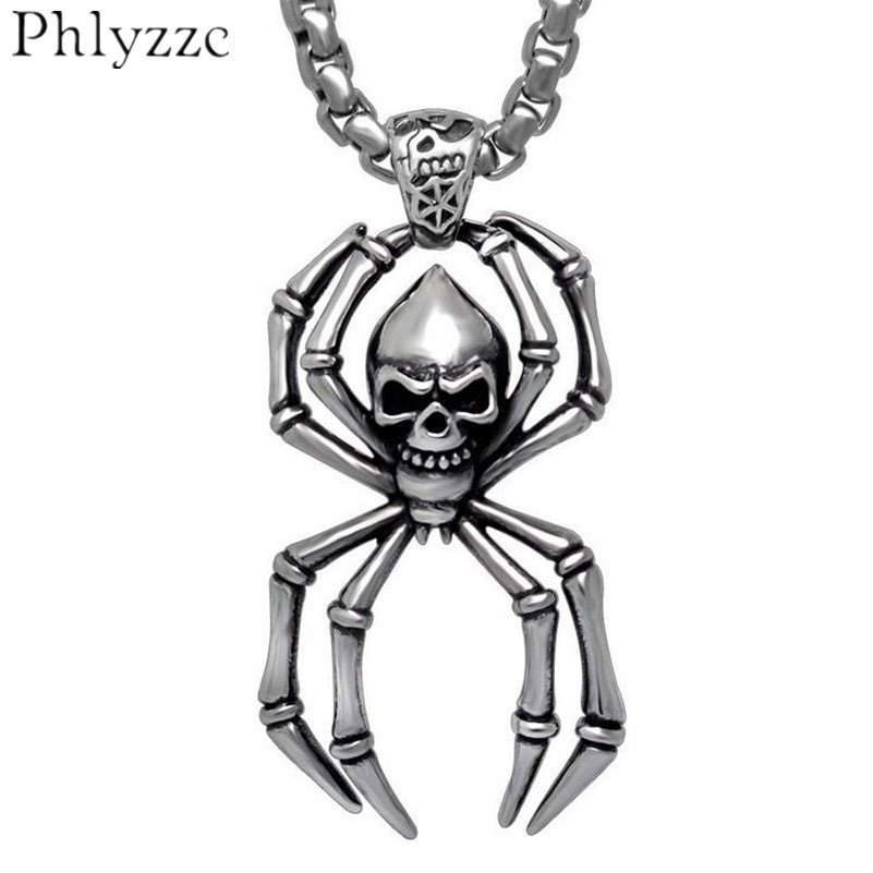 Skull Spider necklace stainless steel