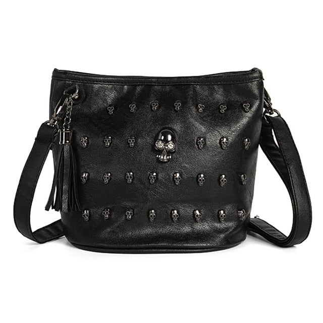 Vintage Skull Studs Leather Handbag