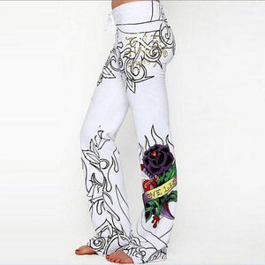 Skull Rose High Waist Printed Long Pants