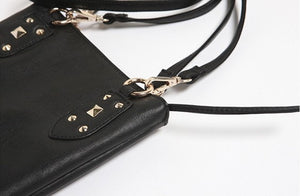 Skull Leather Messenger Handbag