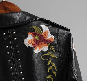 Flowered Leather Jacket