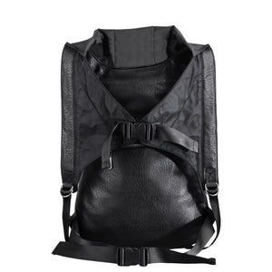 Skull Leather Backpack with Hood