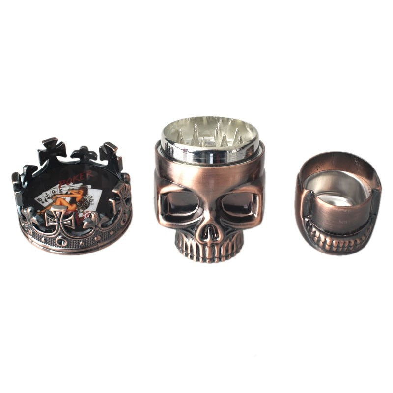 3 Layers Skull Metal Herb Spice Grinder Crusher