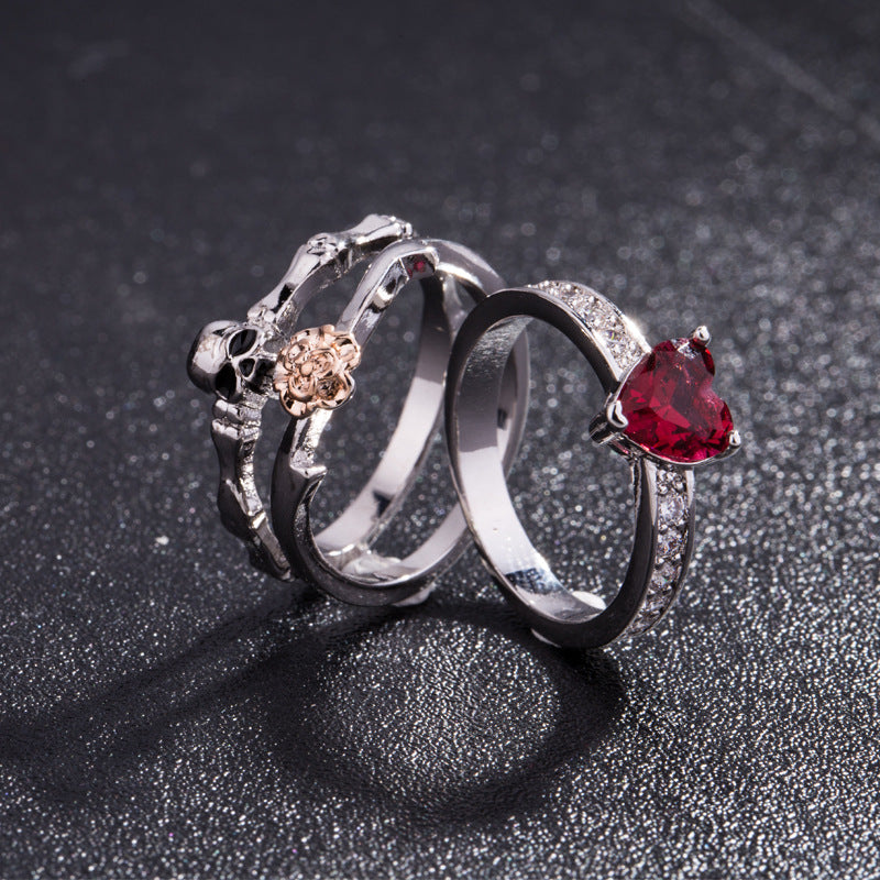Heart Rose Skull Ring (3 Pieces)