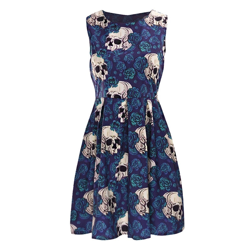 Skull A-Line Sleeveless Dress