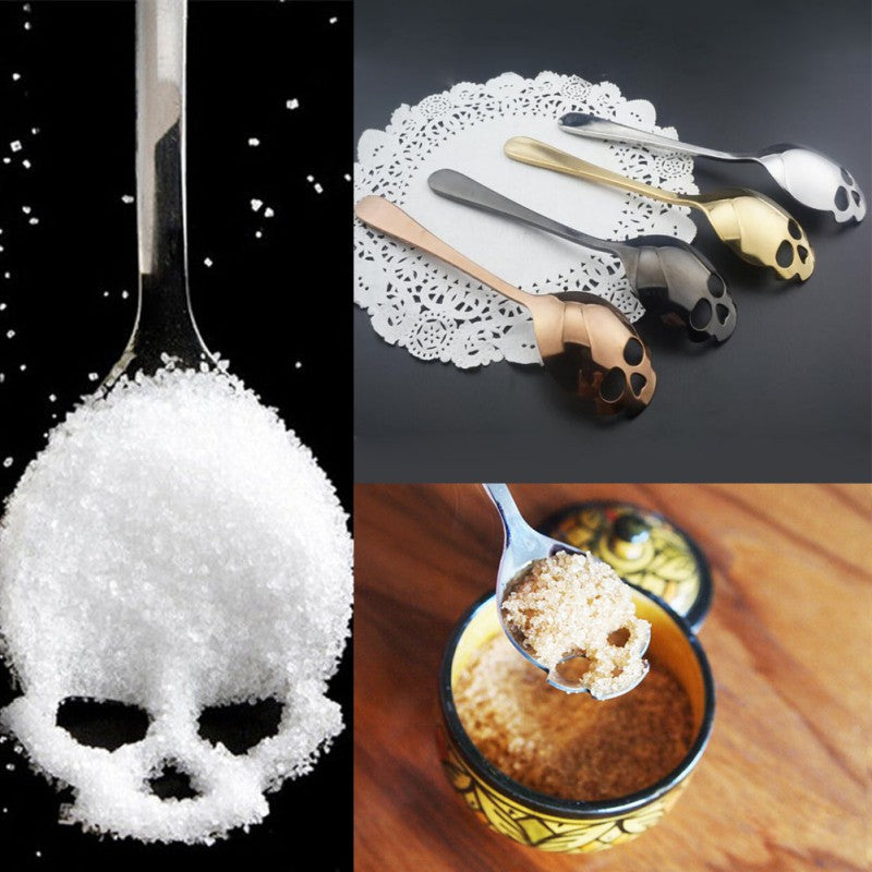 2PCs Stainless Steel Skull Spoon