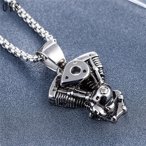 STAINLESS STEEL V-TWIN ENGINE PENDANT AND CHAIN