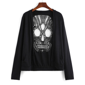 Hollow Out Skull  Sweaters  Backed Cardigan