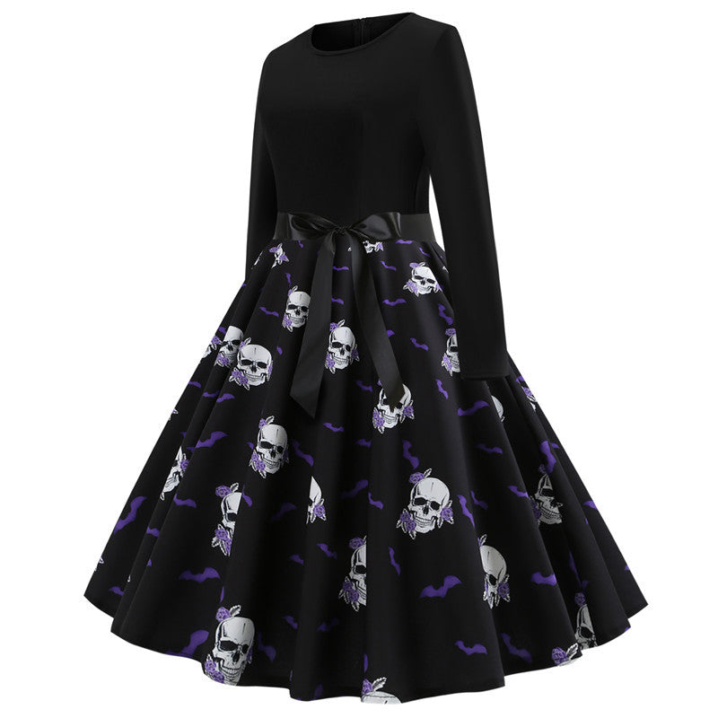 Robe pin up Vintage Dress Spring 2019 Skull Print New Year Dress for Women Long Sleeve Rockabilly Party Dresses Big Swing