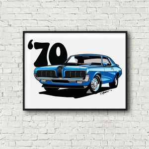 1970 Mercury Cougar Eliminator Blue Poster