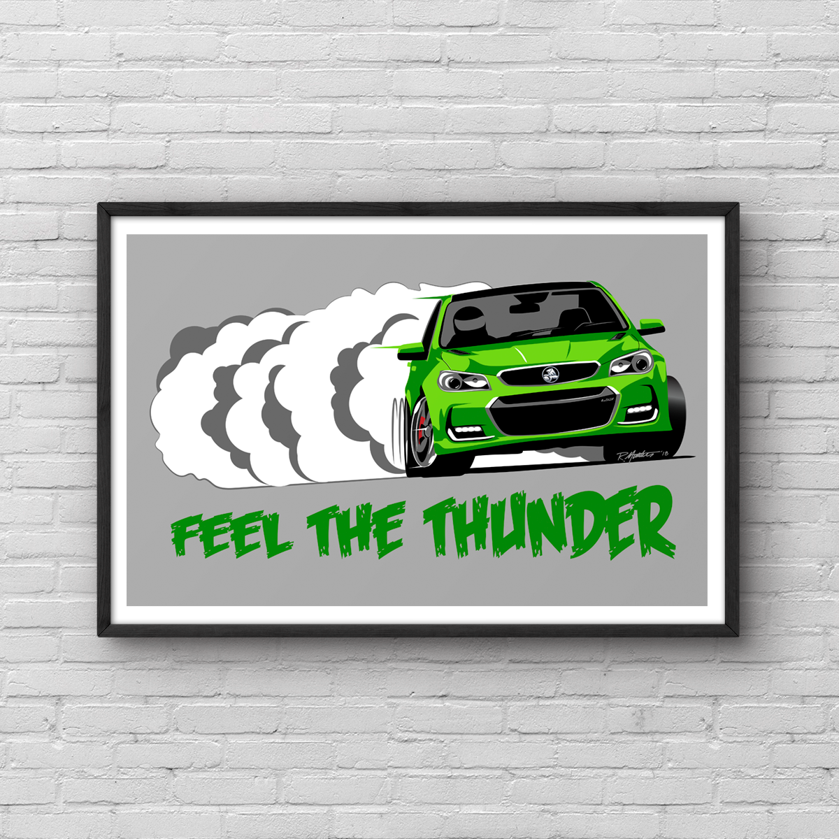 Holden Commodore VF2 Green Feel The Thunder Poster