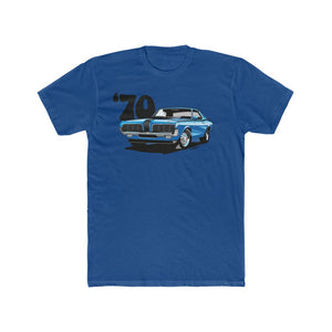 1970 Mercury Cougar Eliminator Blue Men's Cotton Crew Tee