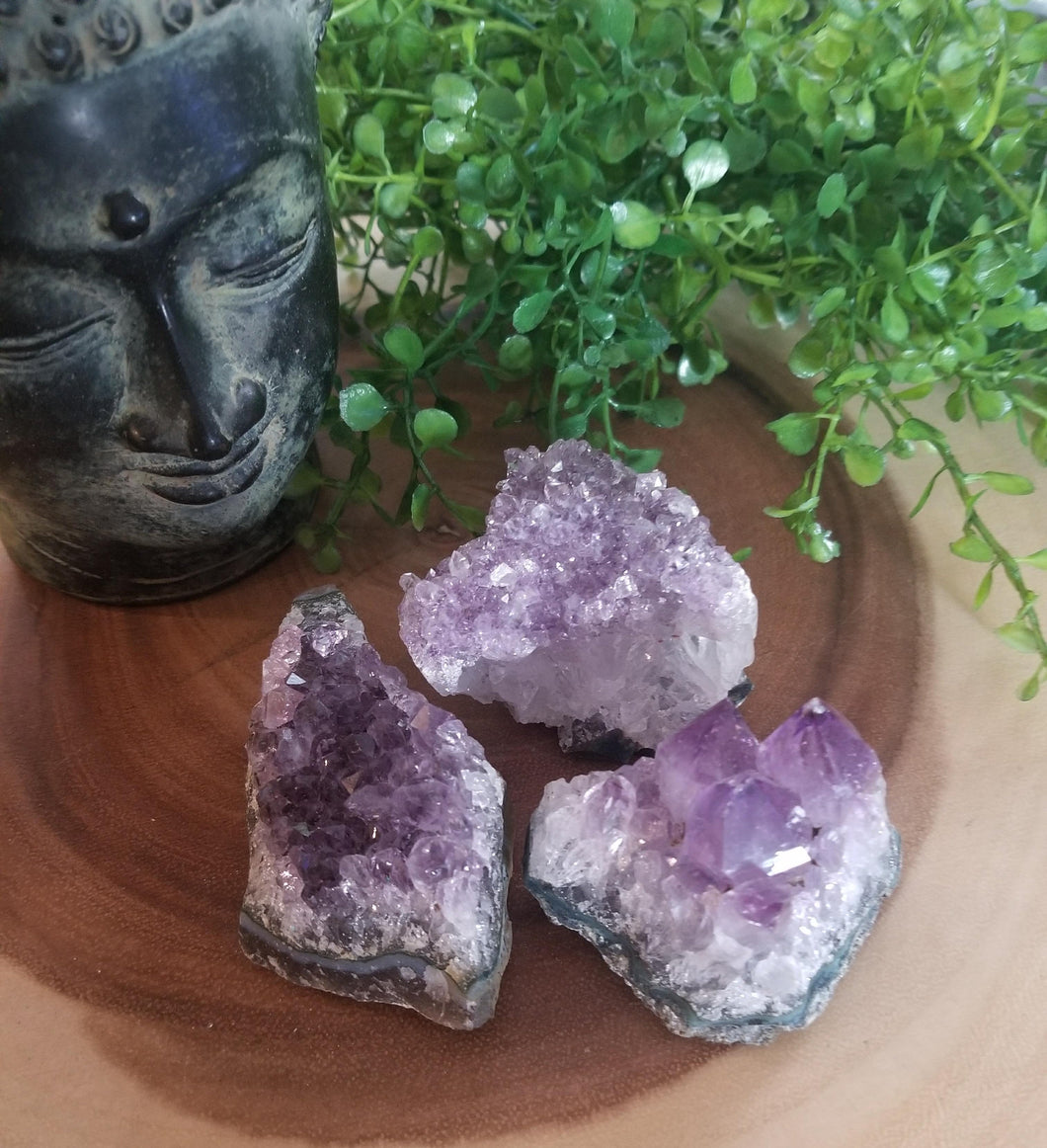 3 Piece Amethyst Crystal Cluster Set