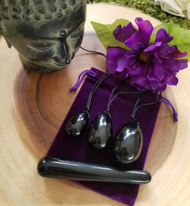 Black Obsidian Yoni Egg & Yoni Wand Set